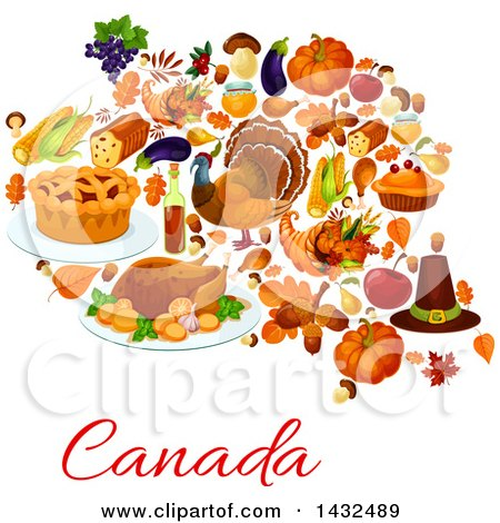 Clipart of a Canadian Thanksgiving Design - Royalty Free Vector Illustration by Vector Tradition SM