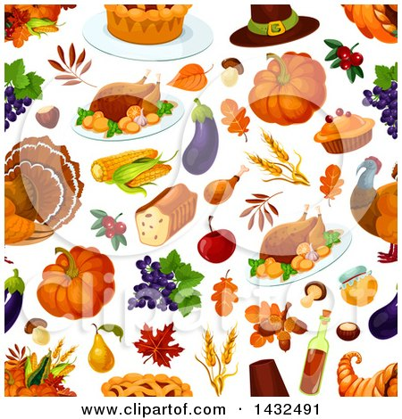 Clipart of a Seamless Patterned Thanksgiving Background - Royalty Free Vector Illustration by Vector Tradition SM