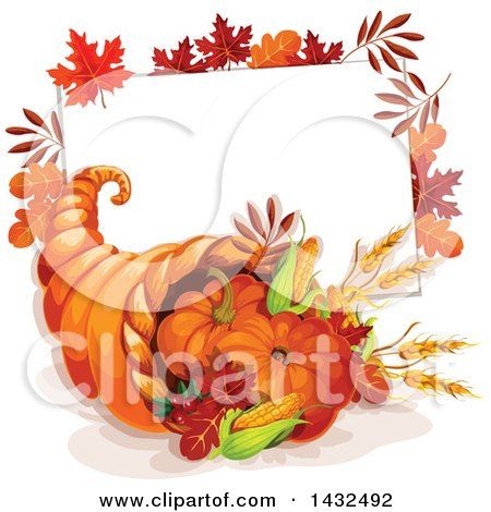 Clipart of a Thanksgiving Cornucopia and Sign - Royalty Free Vector Illustration by Vector Tradition SM