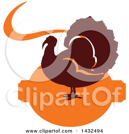 Clipart of a Silhouetted Turkey Bird Ove Orange - Royalty Free Vector Illustration by Vector Tradition SM
