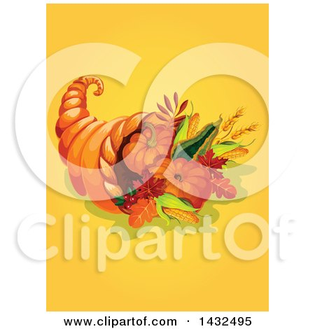 Clipart of a Thanksgiving Cornucopia on Yellow - Royalty Free Vector Illustration by Vector Tradition SM