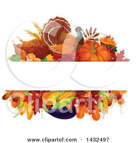 Clipart of a Turkey Bird and Produce Design with Text Space - Royalty Free Vector Illustration by Vector Tradition SM