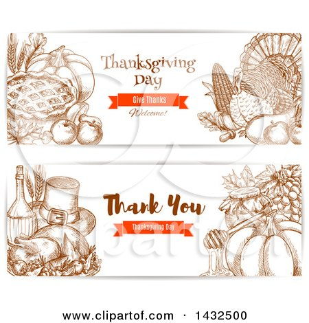 Clipart of Sketched Thanksgiving Website Banners - Royalty Free Vector Illustration by Vector Tradition SM