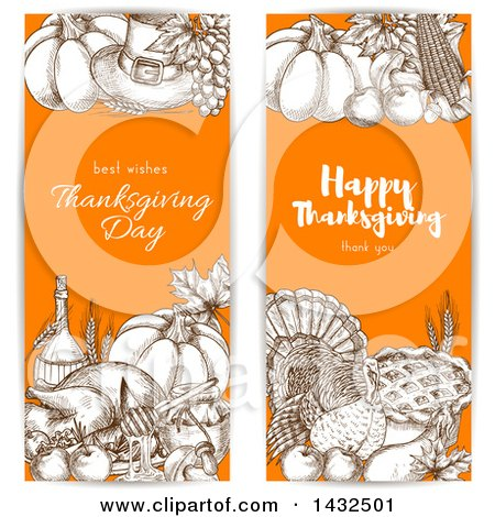 Clipart of Sketched Brown White and Orange Thanksgiving Website Banners - Royalty Free Vector Illustration by Vector Tradition SM
