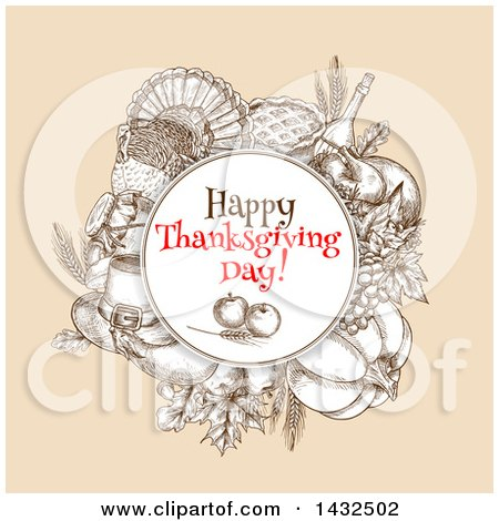 Clipart of a Sketched Round Frame with Happy Thanksgiving Day Text over Produce and Thanksgiving Items - Royalty Free Vector Illustration by Vector Tradition SM