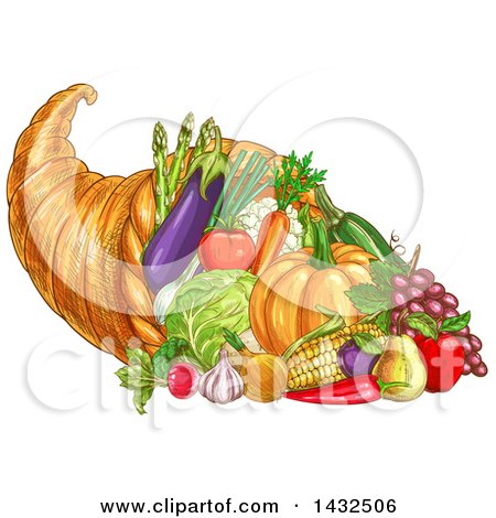 Clipart of a Sketched Thanksgiving Cornucopia with Vegetables - Royalty Free Vector Illustration by Vector Tradition SM