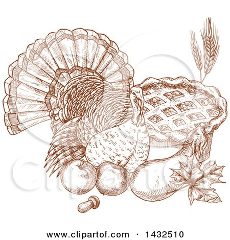 Clipart of a Sketched Brown Turkey Bird with Produce and a Pie - Royalty Free Vector Illustration by Vector Tradition SM