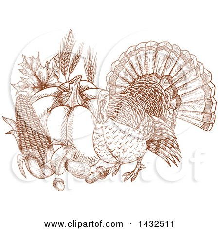Clipart of a Sketched Brown Turkey Bird with Produce - Royalty Free Vector Illustration by Vector Tradition SM