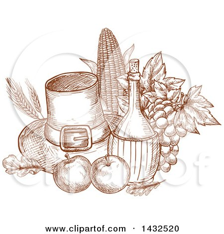 Clipart of a Sketched Brown Pilgrim Hat and Produce - Royalty Free Vector Illustration by Vector Tradition SM