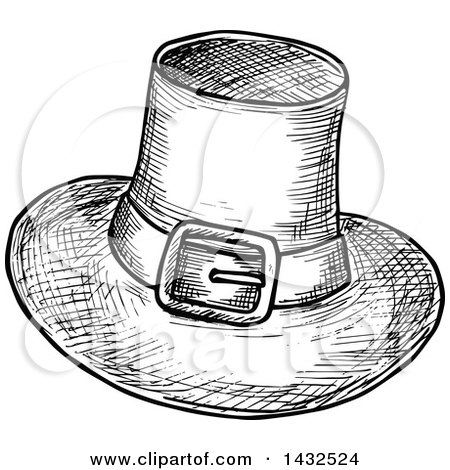Clipart of a Sketched Black and White Pilgrim Hat - Royalty Free Vector Illustration by Vector Tradition SM