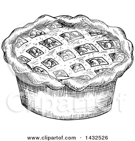 Clipart of a Sketched Black and White Pie - Royalty Free Vector Illustration by Vector Tradition SM