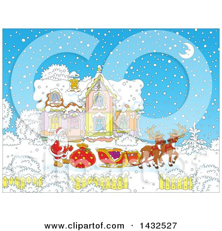 Clipart of a Scene of Reindeer Waiting While Santa Loads His Sleigh with Christmas Gifts in Front of His Home in the Snow - Royalty Free Vector Illustration by Alex Bannykh
