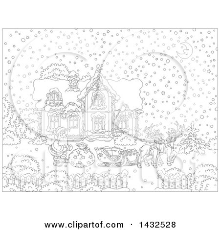 Clipart of a Black and White Lineart Scene of Reindeer Waiting While Santa Loads His Sleigh with Christmas Gifts in Front of His Home in the Snow - Royalty Free Vector Illustration by Alex Bannykh