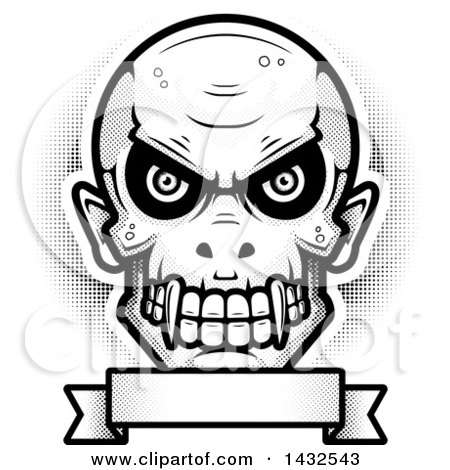 Clipart of a Halftone Black and White Evil Vampire Skull over a Blank Banner - Royalty Free Vector Illustration by Cory Thoman