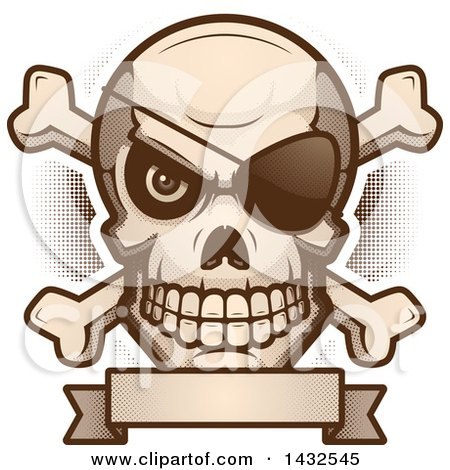 Clipart of a Halftone Evil Pirate Skull and Crossbones over a Blank Banner - Royalty Free Vector Illustration by Cory Thoman