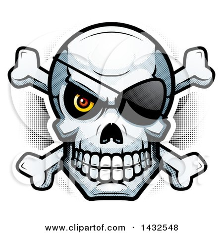 Clipart of a Halftone Pirate Skull and Crossbones - Royalty Free Vector Illustration by Cory Thoman