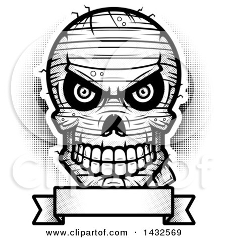 Clipart of a Halftone Black and White Evil Mummy Skull over a Blank Banner - Royalty Free Vector Illustration by Cory Thoman