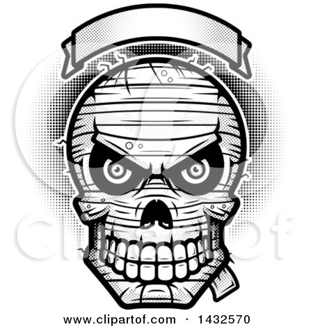 Clipart of a Halftone Black and White Evil Mummy Skull Under a Blank Banner - Royalty Free Vector Illustration by Cory Thoman
