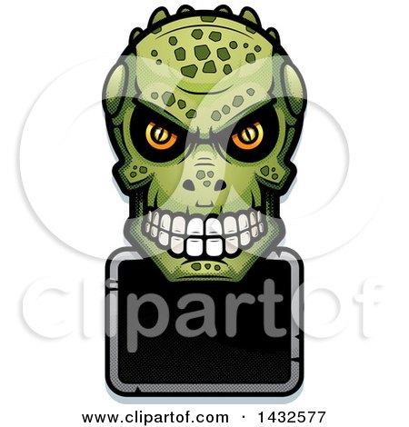 Clipart of a Halftone Lizard Man Skull over a Blank Sign - Royalty Free Vector Illustration by Cory Thoman