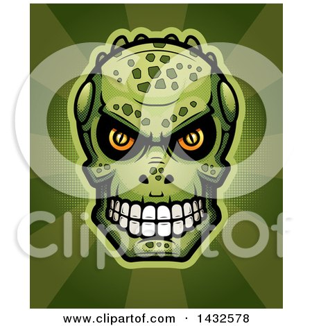 Clipart of a Halftone Lizard Man Skull over Rays - Royalty Free Vector Illustration by Cory Thoman