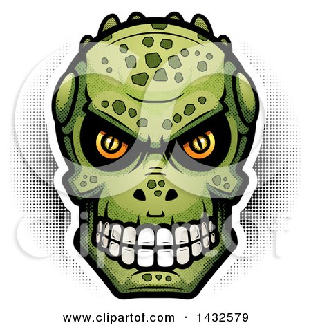 Clipart of a Halftone Lizard Man Skull - Royalty Free Vector Illustration by Cory Thoman