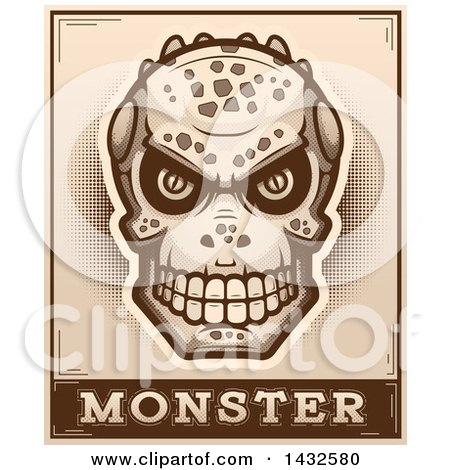 Clipart of a Halftone Lizard Man Skull over Monster Text - Royalty Free Vector Illustration by Cory Thoman