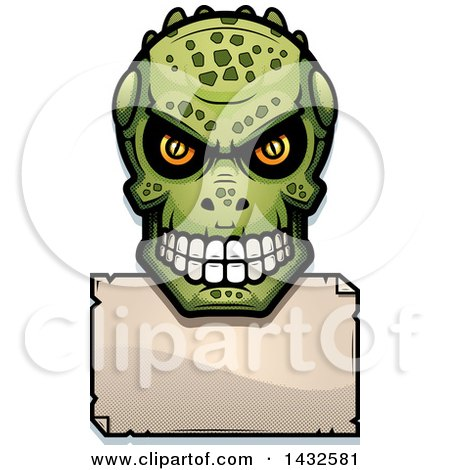 Clipart of a Halftone Lizard Man Skull over a Blank Paper Sign - Royalty Free Vector Illustration by Cory Thoman