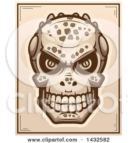 Clipart of a Halftone Lizard Man Skull Poster Design - Royalty Free Vector Illustration by Cory Thoman