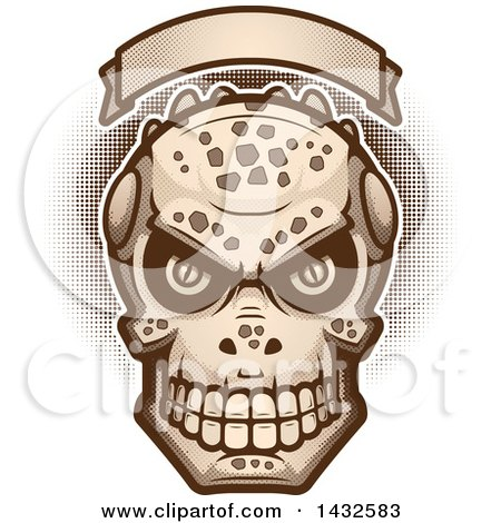Clipart of a Halftone Evil Lizard Man Skull Under a Blank Banner - Royalty Free Vector Illustration by Cory Thoman