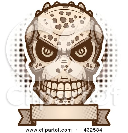Clipart of a Halftone Evil Lizard Man Skull over a Blank Banner - Royalty Free Vector Illustration by Cory Thoman