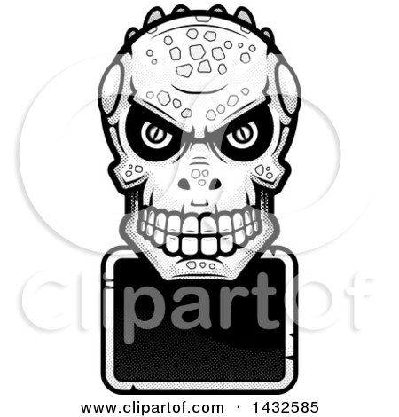 Clipart of a Halftone Black and White Lizard Man Skull over a Blank Sign - Royalty Free Vector Illustration by Cory Thoman