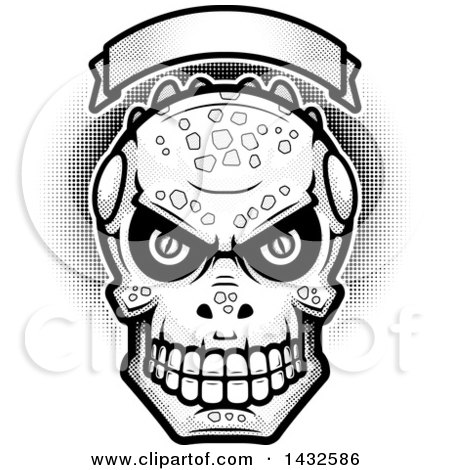 Clipart of a Halftone Black and White Evil Lizard Man Skull Under a Blank Banner - Royalty Free Vector Illustration by Cory Thoman