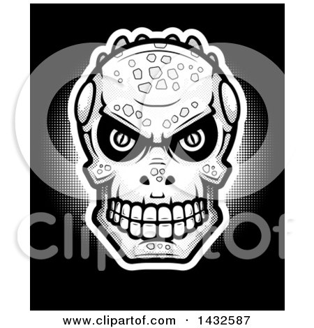 Clipart of a Halftone Lizard Man Skull on Black - Royalty Free Vector Illustration by Cory Thoman