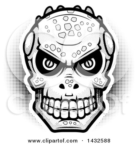 Clipart of a Halftone Black and White Lizard Man Skull - Royalty Free Vector Illustration by Cory Thoman