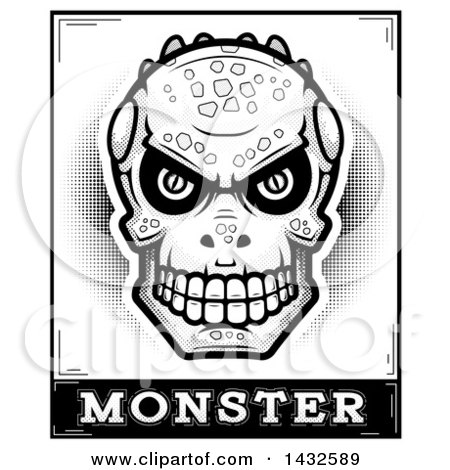 Clipart of a Halftone Black and White Lizard Man Skull over Monster Text - Royalty Free Vector Illustration by Cory Thoman