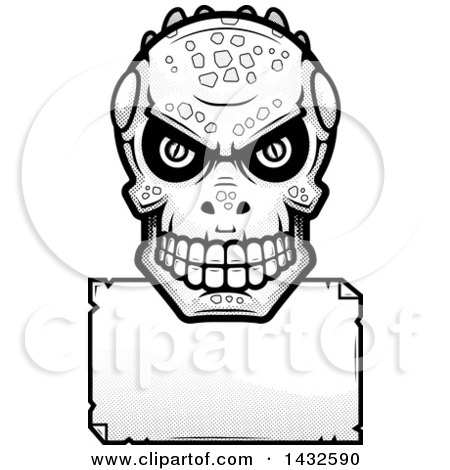 Clipart of a Halftone Black and White Lizard Man Skull over a Blank Paper Sign - Royalty Free Vector Illustration by Cory Thoman