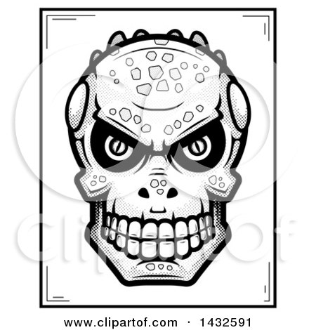 Clipart of a Halftone Black and White Lizard Man Skull Poster Design - Royalty Free Vector Illustration by Cory Thoman