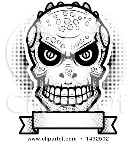 Clipart of a Halftone Black and White Evil Lizard Man Skull over a Blank Banner - Royalty Free Vector Illustration by Cory Thoman