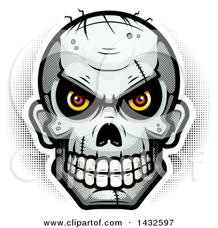Clipart of a Halftone Evil Zombie Skull - Royalty Free Vector Illustration by Cory Thoman