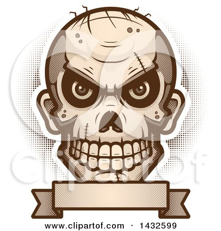 Clipart of a Halftone Evil Zombie Skull over a Blank Banner - Royalty Free Vector Illustration by Cory Thoman
