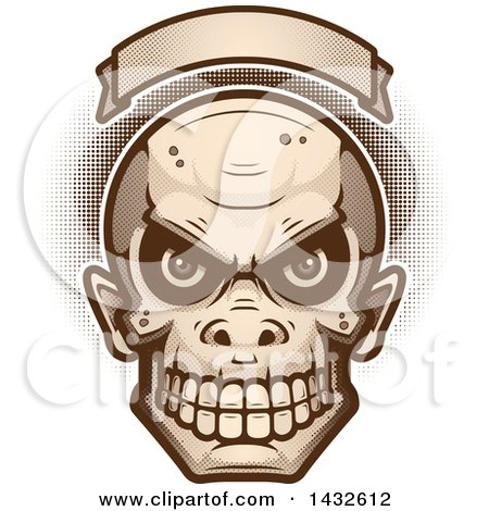 Clipart of a Halftone Goblin Skull Under a Blank Banner - Royalty Free Vector Illustration by Cory Thoman