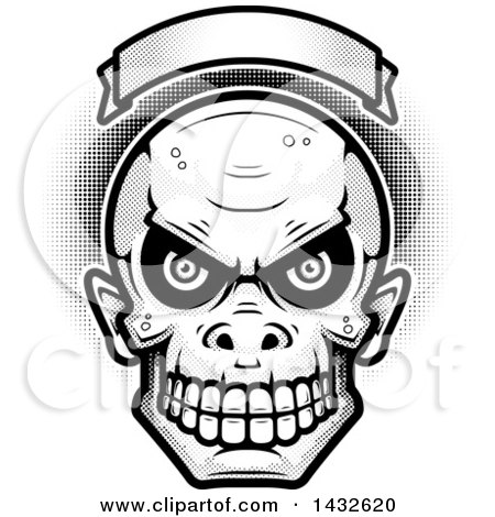 Clipart of a Halftone Black and White Goblin Skull Under a Blank Banner - Royalty Free Vector Illustration by Cory Thoman