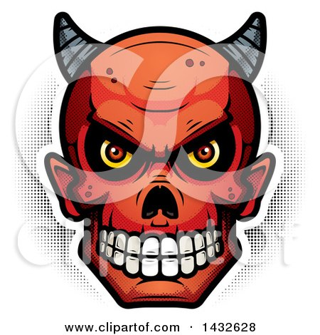Clipart of a Halfton Devil Skull - Royalty Free Vector Illustration by Cory Thoman