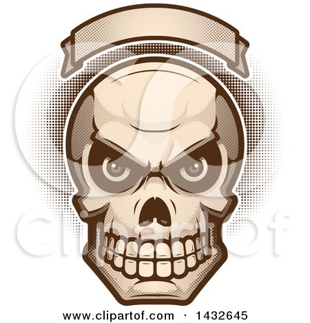 Clipart of a Halftone Evil Human Skull Under a Blank Banner - Royalty Free Vector Illustration by Cory Thoman