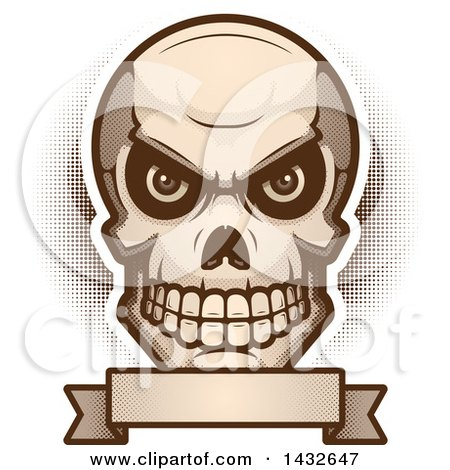 Clipart of a Halftone Evil Human Skull over a Blank Banner - Royalty Free Vector Illustration by Cory Thoman