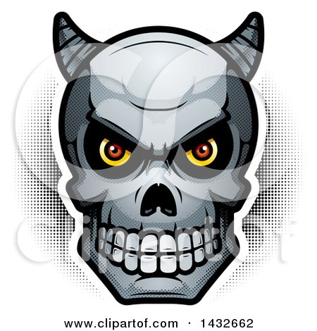 Clipart of a Halftone Demon Skull - Royalty Free Vector Illustration by Cory Thoman