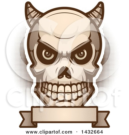 Clipart of a Halftone Demon Skull over a Blank Banner - Royalty Free Vector Illustration by Cory Thoman