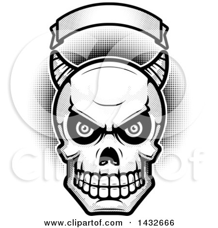 Clipart of a Halftone Black and White Demon Skull Under a Blank Banner - Royalty Free Vector Illustration by Cory Thoman