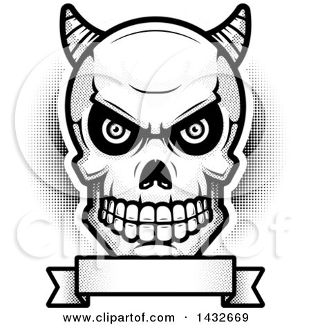 Clipart of a Black and White Halftone Demon Skull over a Blank Banner - Royalty Free Vector Illustration by Cory Thoman