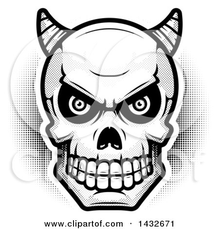 clipart of a black and white halftone demon skull - royalty free